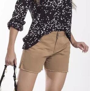 Shorts Feminino Em Sarja De Algodão Folha - Marrom Claro