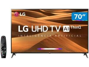 "Smart TV 4K LED 70"" LG 70UM7370PSA Wi-Fi-Inteligência Artificial Controle Smart Magic"