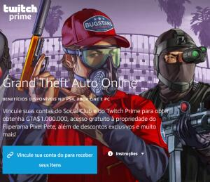 (Twitch Prime) - $ 1.000.000,00 no GTA V Online - Grátis pra assinantes