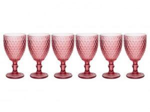 Jogo de Taças de vidro vermelho 6 peças 300ml - Casambiente Bico de Jaca