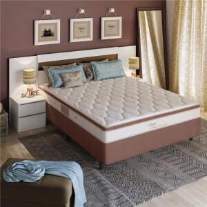 Cama Box Casal + Colchão Herval Capri com Pillow Inn e Molas Ensacadas 64x138x188 cm - Marrom/Bege