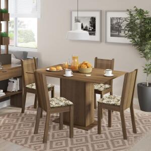 Conjunto de Mesa com 4 Cadeiras Lexy Rustic e Lírio Bege