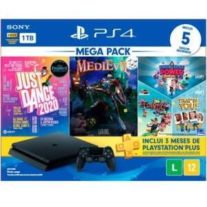 Console PlayStation 4 Hits Bundle Mega Pack 11 - Just Dance 2020 + MediEvil + Voucher para 03 Jogos