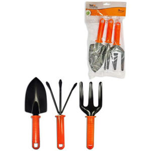 [Cartão Shoptime] Kit Para Jardinagem Com 3 Pecas Laranja (pazinha/garfo/rastelo)