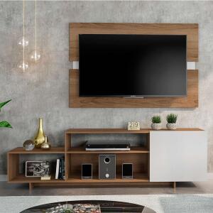 Rack com Painel para TV até 45 Polegadas Siena City Carvalho e Off White 180 cm