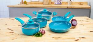Jogo de Panelas Happy Day Azul 5 peças - La Cuisine | R$200