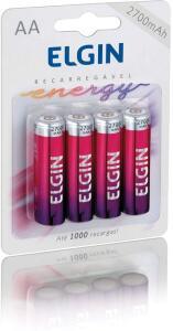 Pilha Recarregável Ni-Mh Aa-2700Mah Blister Com 4 Pilhas, Elgin, Baterias | R$37