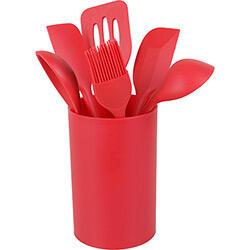Conjunto de utensílios de silicone vermelho 6 peças com suporte - Basic+