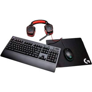 Kit Gamer Logitech - Mouse G203 RGB + Mousepad G240 + Teclado G213 RGB US + Headset G230 | R$500