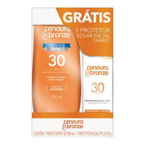Kit Protetor Solar Cenoura E Bronze Loção Fps30 200 Ml E Facial Fps30 50g - R$22