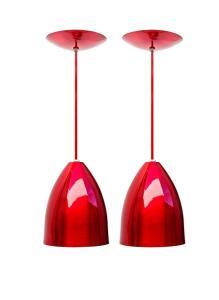 Kit com 2 pendentes Luminária Soft Cone Alumínio 18cm Vermelho e Branco | R$60