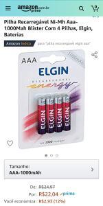 Pilha Recarregável Ni-Mh Aaa-1000Mah Blister Com 4 Pilhas, Elgin, Baterias (Frete Grátis Prime) | R$ 22