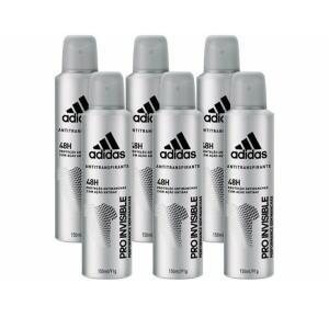 Desodorante Aerosol Antitranspirante Masculino - Adidas Pro Invisible 150ml 6 Unidades R$36