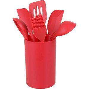 [CC Americanas] Conjunto de utensílios de silicone vermelho 6 peças com suporte - Basic+ | R$64