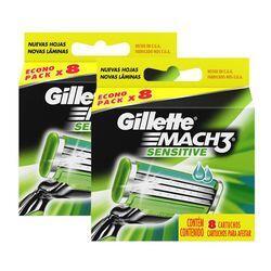 Kit Carga Refil Gillette Mach3 Sensitive 16 Unidades | R$21