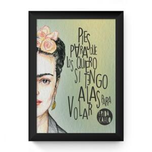 Quadro Frida Kahlo 33x24cm com Moldura Preta e Vidro - Decorando Shop