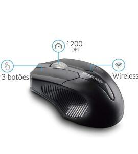 [PRIME] Mouse Sem Fio 2.4 Ghz Usb Box Multilaser Preto - MO264