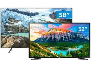 "Combo Smart TV Samsung 4K LED 58"" Wi-Fi- 58RU7100 + Smart TV HD LED 32"" J4290 | R$3.190"
