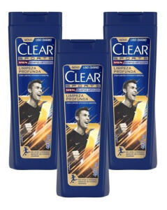 [VISA/APP ML] Shampoo Anticaspa Clear Men Limpeza Profunda 400ml - 3 Un