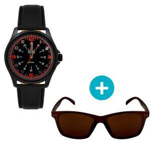 Relógio Dumont Masculino + Óculos de Sol, UV