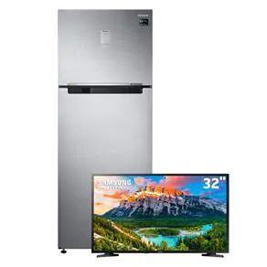 "Kit Refrigerador Samsung RT46K6261S8 453L + Smart TV LED 32"" HD Samsung 32J4290 | R$ 3.499"