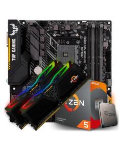 Kit Upgrade Placa Mãe Asus TUF B450M-PLUS + AMD Ryzen 5 3600 3.6GHz + Memória DDR4 16GB (2x8GB) 3000MHz | R$2.981
