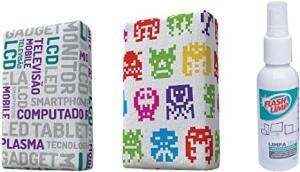 [PRIME] Flash Limp Kit com 2 Esponjas Microfibra e 1 Limpa Telas Spray 120ml Estampas Sortidas