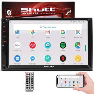 """MP3 MP5 Player Automotivo Shutt Chicago 2 Din 7"""" Bluetooth USB Espelha Android e Ios R$228"""