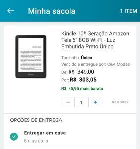 "Kindle 10ª geração amazon tela 6"" 8gb wi-fi - luz embutida preto"