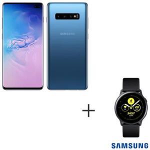 Samsung Galaxy S10+ Azul, 128GB e Camera Tripla + Galaxy Watch Active Preto   R$ 3.499