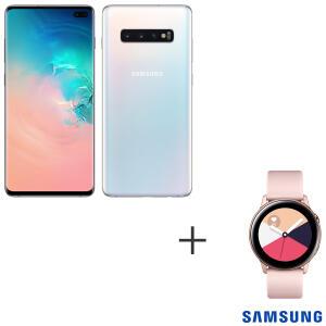 Samsung Galaxy S10+ Branco 128 GB + Galaxy Watch Active Rose | R$3.499