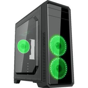 Gabinete Gamer Gamemax ECO G561 Plus, Mid Tower, Com 3 Fans Green, Black, S-Fonte | R$ 189