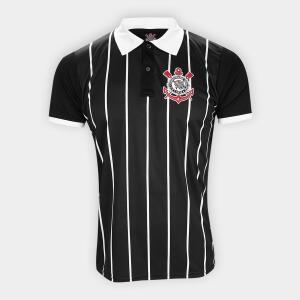 Camisa Polo Corinthians Stripes Democracia Corinthiana Masculina - Preto e Branco | R$30