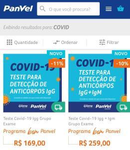 Teste Covid-19 - R$169