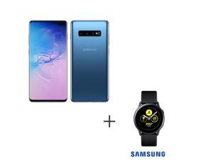 "Samsung Galaxy S10+ Azul, Tela de 6,4"", 4G, 128GB e Camera Tripla + Galaxy Watch Active Preto, 28 mm, NFC e 4GB"