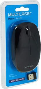 Multilaser MO251 - Mouse Sem Fio 2.4 Ghz 1200 DPI Usb, Preto | R$24
