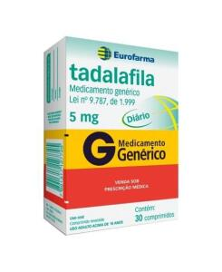 Tadalafila Diário 5mg c/ 30 Comprimidos Genérico Eurofarma