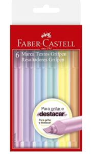 Caneta Marca Texto, Faber-Castell, Grifpen, MT/TP6ZF, 6 Cores, Tons Pastel