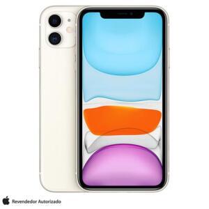 """iPhone 11 Branco, com Tela de 6,1"""", 4G, 256 GB e Câmera 12 MP"""