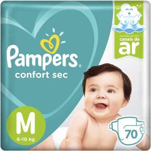 (PRIME)Fralda Pampers Confort Sec Super, M, 70 Unidades