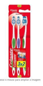 Escova Dental Colgate Classic Clean 3 Unid com 3 escovas | R$ 7
