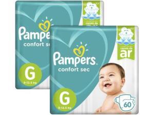 Fralda Pampers Confort Sec G - 120 UN | R$91