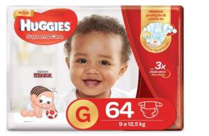 Huggies Fralda Supreme Care Hiper G, 64 Fraldas   R$50