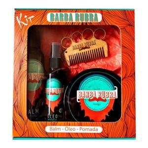 Kit Para Barba Rubra, Balm e Óleo e Pomada Modeladora Pente