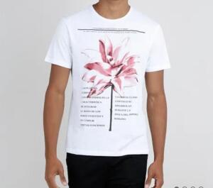 (APP) camiseta masculina floral manga curta gola careca