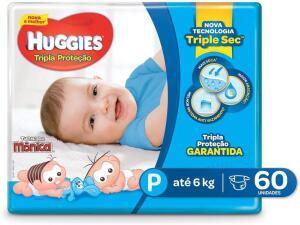 (Prime) Huggies Fralda Tripla Proteção Mega P, 60 Fraldas | R$35