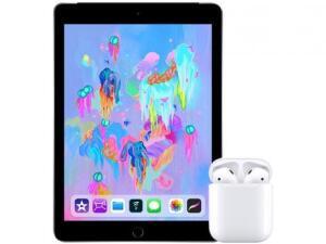 "iPad 6 Apple 4G 128GB Cinza Espacial Tela 9.7"" + AirPods"