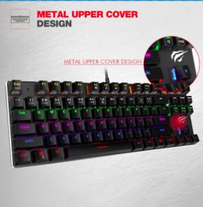 Aliexpress   Havit teclado mecânico 87 / 104 teclas azul/vermelho backlight   R$ 194