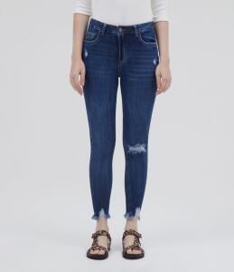 Calça Jeans Skinny com Puídos Azul | R$50