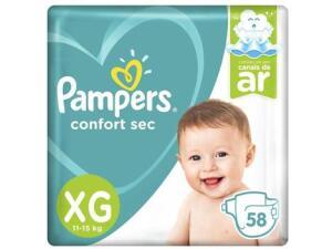 Fralda Pampers Confort Sec XG - 58 UN   R$ 46